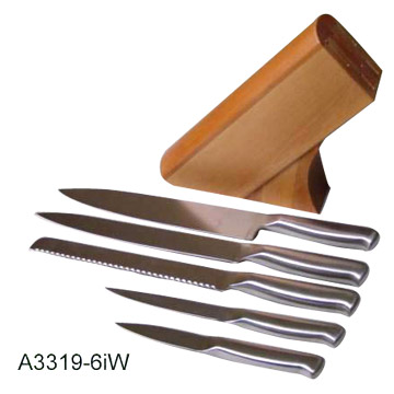 7 Piece Stainless Steel Knife Set with Wood Block
