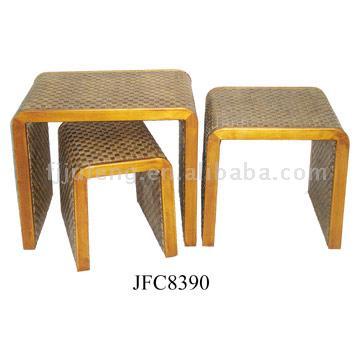 Wood & Imitation Leather Table (Wood & Имитация кожи таблице)