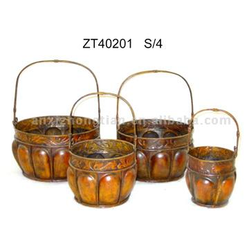 Iron Basket Planters (S/4)