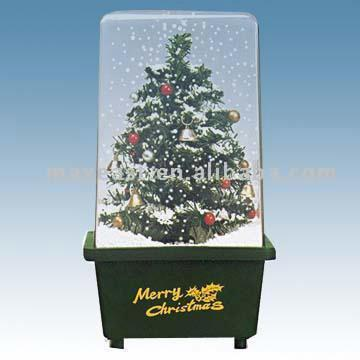 29cm snow cube with christmas tree 29cm snow cube with christmas tree - Snowing Christmas Decoration