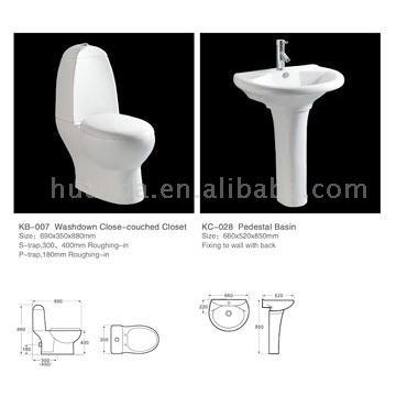 Two-Piece Toilet & Pedestal Basin (Двухсекционный Туалет & Пьедестал бассейне)