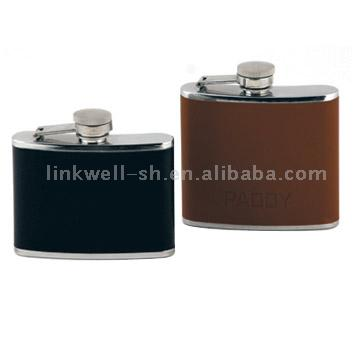 Hip Flasks with Leather Wrapping
