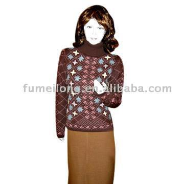 Ladies` Intarsia Turtleneck Cashmere Sweater