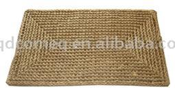 Corn Husk Woven Rug with Embroidered Pattern