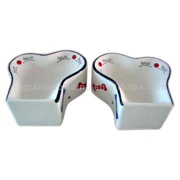 2 Dog Bone Bowls Set