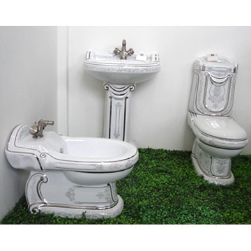 Toilet, Bidet, Basin And Pedestal