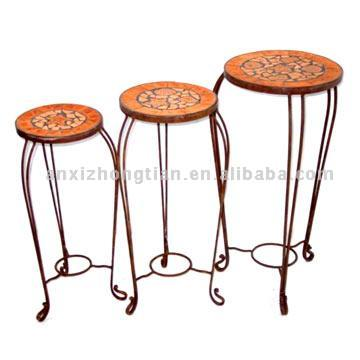 Iron and Terra Cotta Plant Stands
