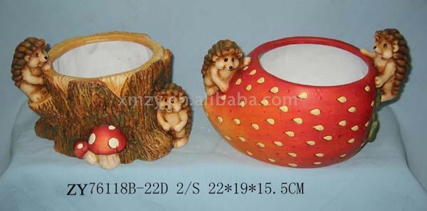 Ceramic Scarecrow w/Apple Pot