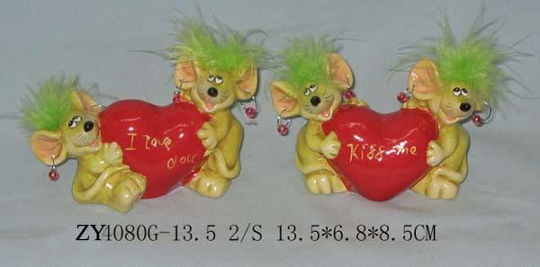 Ceramic Valentine Rat Decoration (Керамические Валентина Крысы Украшения)