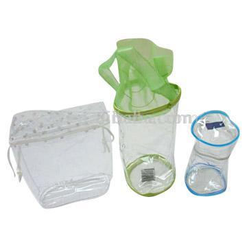 PVC transparent bags for cosmetic and gift packaging.  ПВХ сумка.