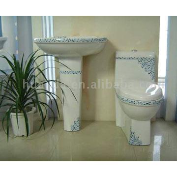 Whole Set of Two-Piece Toilet And Pedestal Basin (Весь набор из двух частей туалета и Пьедестал бассейне)