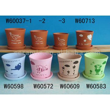 Ceramic Hand Painted Flower Pots