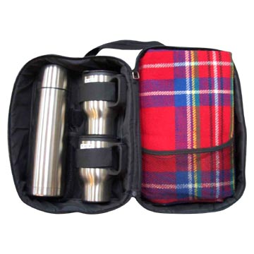 Stainless Steel Travel Mug Set (with Blanket and Carry Bag )