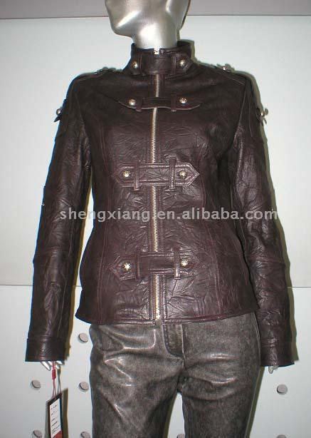 Ladies` Shrink Lamb Leather Jacket ( Ladies` Shrink Lamb Leather Jacket