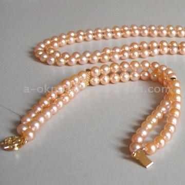 Zwei Stränge Pearl Necklace & Bracelet Set (Zwei Stränge Pearl Necklace & Bracelet Set)
