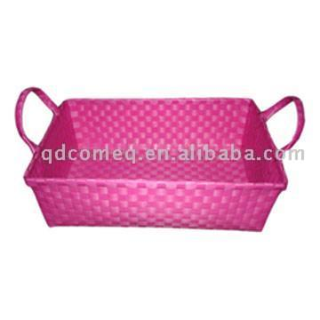 Fashion Plastic Woven Basket with Two Handles