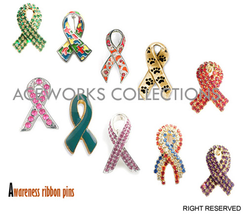 Rhinestone Awareness Ribbon Pin (Rhinestone Символическая ленточка Pin)