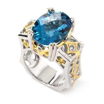 Sterling Silber / Palladium / Vermeil London Blue Topaz & Saphir Ring (Sterling Silber / Palladium / Vermeil London Blue Topaz & Saphir Ring)