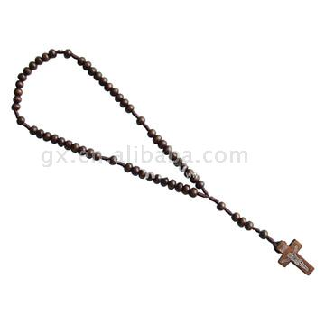 Wood Bead Cord Rosary