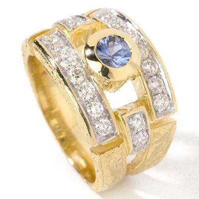 14K Sapphire und Diamond Ring (14K Sapphire und Diamond Ring)
