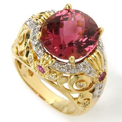 14K Turmalin, rosa Saphir-und Diamant-Ring (14K Turmalin, rosa Saphir-und Diamant-Ring)