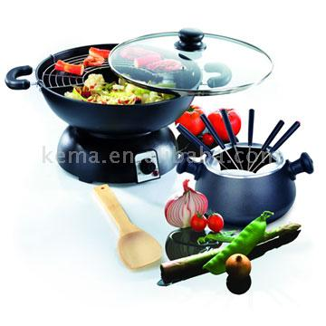 Electric Wok with Fondue Set (Электрический Wok с фондю Установить)