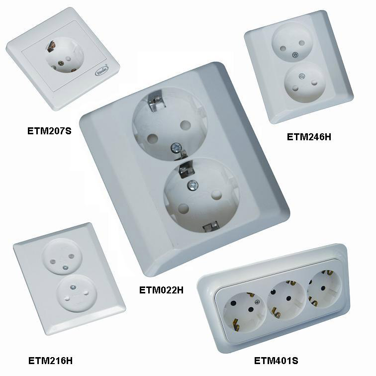 Flush-Type Wall Socket for Fixed Installation (Flush-Type: Prise murale pour installation fixe)