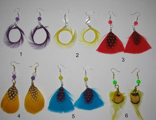 Feather Earrings (Перу серьги)