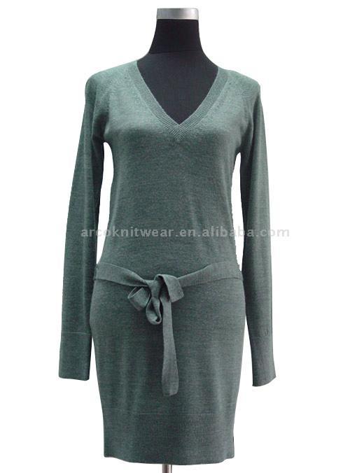 Women`s V-Neck Sweater Dress (Женские V-Neck свитер платье)