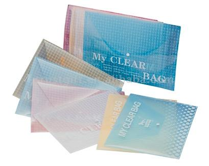 Clear Button File Bag