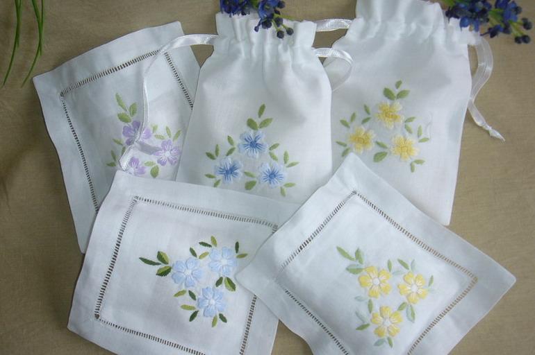 Lavender Bag with Handmade Hemstitch, Cutwork, Drawnwork and Artex