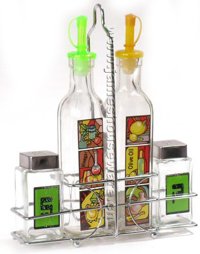 Glass Oil Bottle Set with Wire Stand