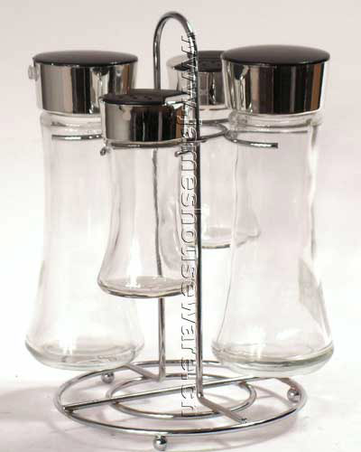 Glass Cruet Set with Wire Stand