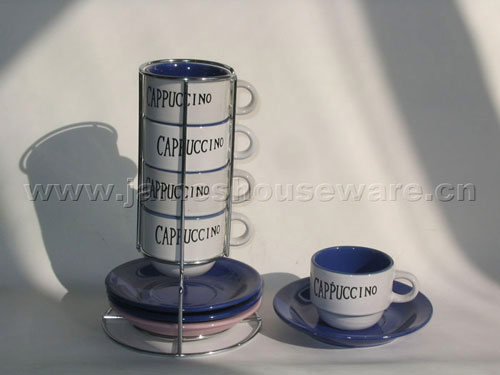 Ceramic Coffee Set with Wire Stand