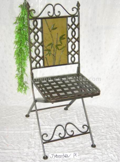 Metal Dining Chair W/Bamboo Design Resin Panel (Металл Обеденный Председатель Вт / Бамбук дизайн Смола Группы)