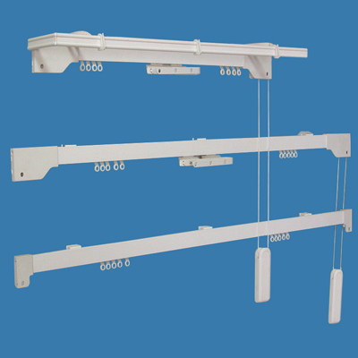 Cord drawn curtain rods