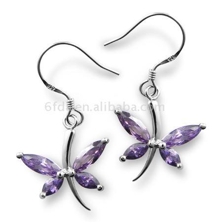 925 Sterling Silver Crystal Earrings (925 Sterling Silber Ohrringe)
