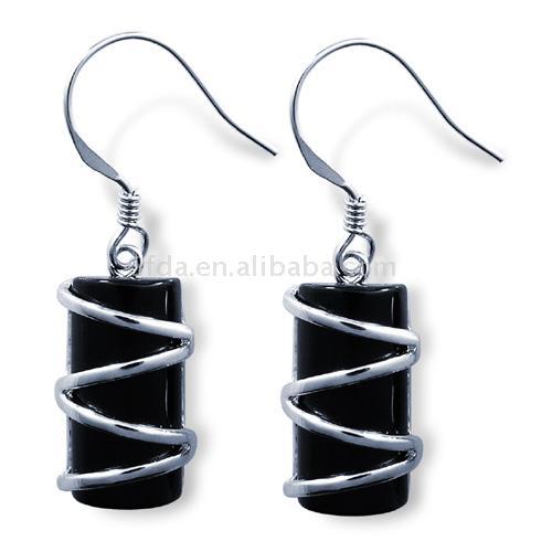 925 Sterling Silver Agate Earrings (925 Sterling Silber Achat Ohrringe)