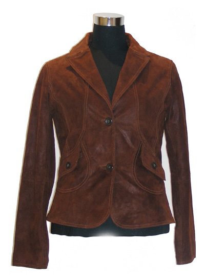 Women`s Glazed Pig Suede Leather Coat (Женские глазированное Pig замши Герб)
