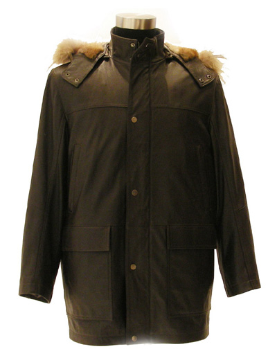 Men`s Goat Leather Coat with Mink Cap