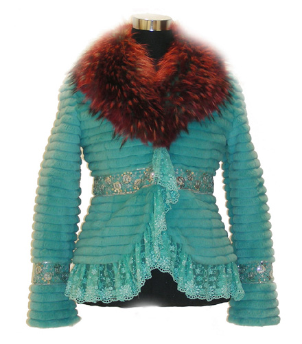 Women`s Rabbit Fur Coat with Raccoon Fur Collar