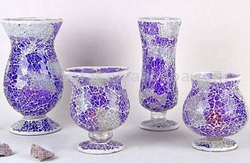 4pc Tempered Gl Mosaic Vase/Candle Holder Set on
