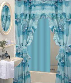 Ideas For Interior Design Shower Curtains Valance Attached. Bathroom Pink Double  Swag ...  Double Swag Shower Curtain