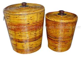 S/2 Conical Rattan Bucket with Lid