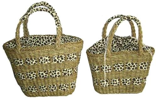Солома Море сумки.  Sea straw bag with fashion lining.