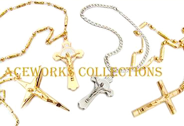 Religiöser Schmuck, Metall-Statue Halskette Kruzifix Halskette (Religiöser Schmuck, Metall-Statue Halskette Kruzifix Halskette)