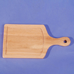 Wooden cutting board with stainless steel handle (Holzbrett mit Griff aus Edelstahl)