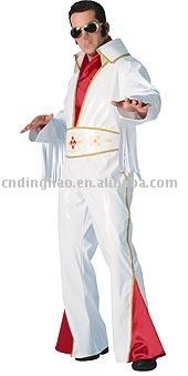 Белый виниловый костюм рок-звезды.