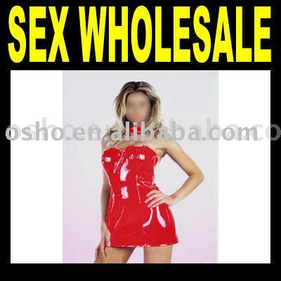 Red Shiny Sex Dress with Four Chains - smcg34a (Красное платье Shiny секс с четырех цепей - smcg34a)
