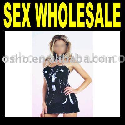 Black Shiny Minidress with Four Chains - smcg34 (Черными блестящими мини-платье с четырех цепей - smcg34)